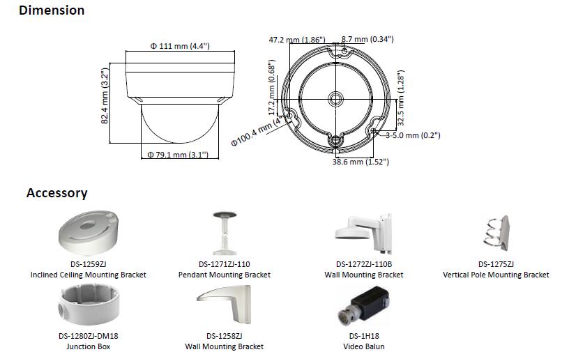DS-2CE56D8T-VPITE (2.8mm) Kamera HD-TVI kopułowa HIKVISION
