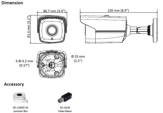 DS-2CE16D8T-IT3E(2.8MM) - KAMERA TURBO-HD TULEJOWA- L633 -tab2