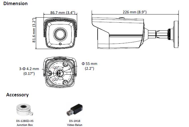 DS-2CE16D8T-IT3E(3.6MM) - KAMERA TURBO-HD TULEJOWA- L635 -wymiary