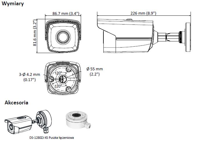 DS-2CE16D8T-IT3F(2.8MM) - KAMERA HD-TVI_AHD_CVI_CVBS TULEJOWA- L638 -wymiary