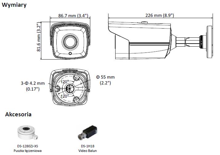 DS-2CE16D8T-IT5E(3.6MM) - KAMERA TURBO-HD TULEJOWA- L659 -wymiary