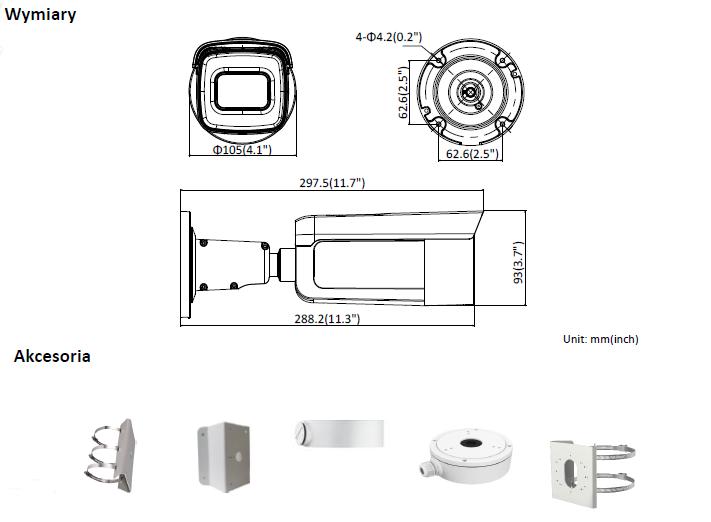 HIKVISION - DS-2CD2626G1-IZS(2.8-12mm) - Kamera typu Bullet- L939 -wymiary