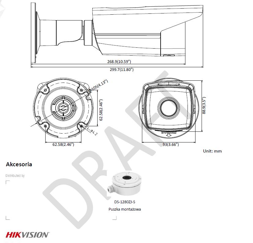 DS-2CD2T85FWD-I5(4MM) - KAMERA IP TULEJOWA-L459-wymiary