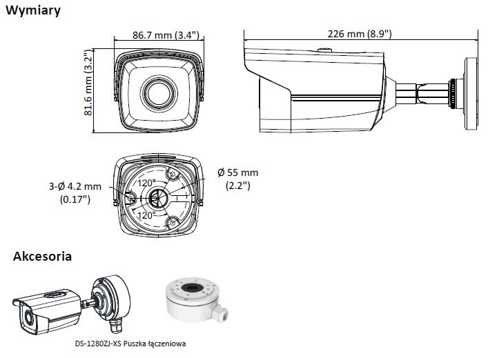 DS-2CE16D8T-IT5F(3.6MM) - KAMERA HD-TVI_AHD_CVI_CVBS TULEJOWA- L666 -wymiary