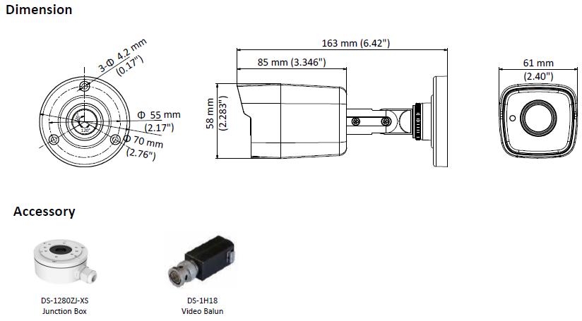DS-2CE16D8T-ITE(2.8MM) - KAMERA TURBO-HD TULEJOWA- L662 -wymiary
