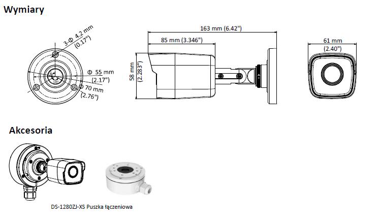 DS-2CE16D8T-ITF(2.8MM) - KAMERA HD-TVI_AHD_CVI_CVBS TULEJOWA- L663 -wymiary