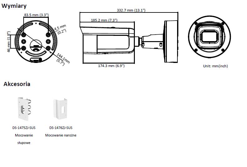 HIKVISION - DS-2CD2645FWD-IZS(2.8-12mm)(B) - Kamera-L880-wymiary