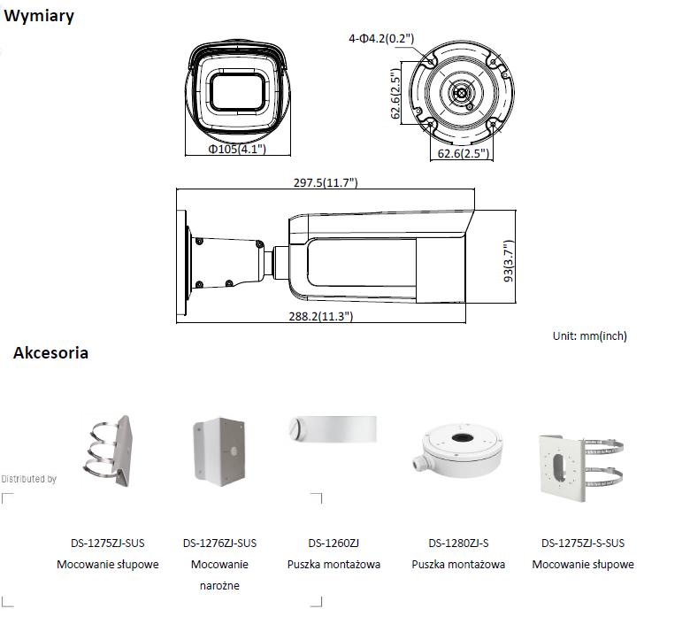 HIKVISION - DS-2CD2645FWD-IZS(2.8-12mm)(B) - Kamera-L940-wymiary