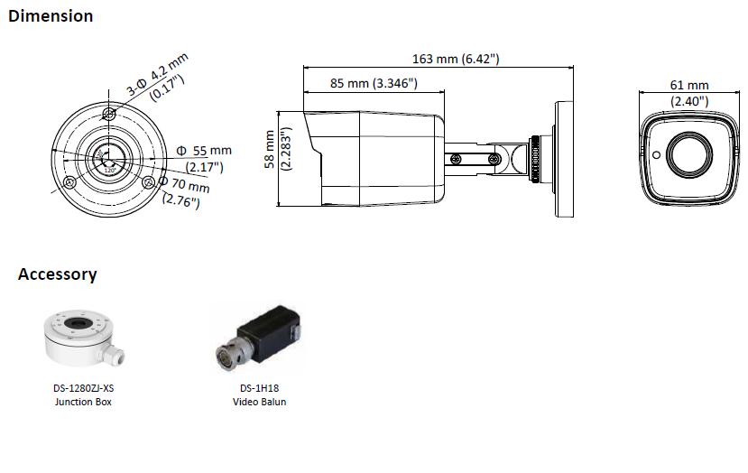 HIKVISION DS-2CE16H5T-ITE(2.8MM) - KAMERA TURBO-HD TULEJOWA-L701-wymiary