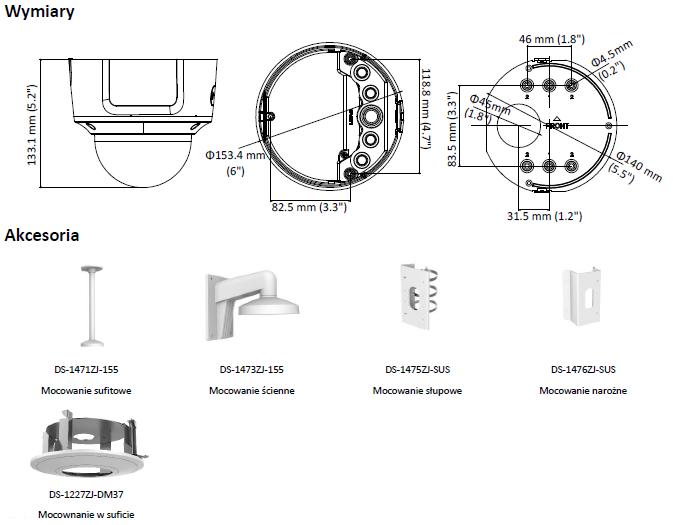 KAMERA DS-2CD2783G0-IZS (2.8-12mm) - HIKVISION - L854 - wymiary