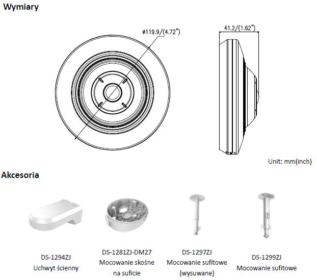 KAMERA DS-2CD2935FWD-I(1.16mm) - HIKVISION - L868 - wymiary