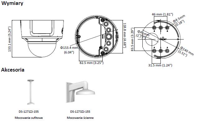 Kamera IP DS-2CD2725FWD-IZS(2.8-12mm) - HIKVISION - L948 - wymiary