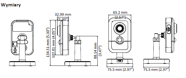 HIKVISION DS-2CD2443G0-IW(2.8MM) - KAMERA IP CUBE, IR- L786 -wymiary