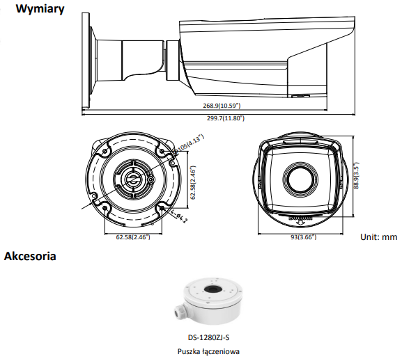 Kamera IP DS-2CD2T23G0-I8(2.8mm) - HIKVISION - L921 - wymiary
