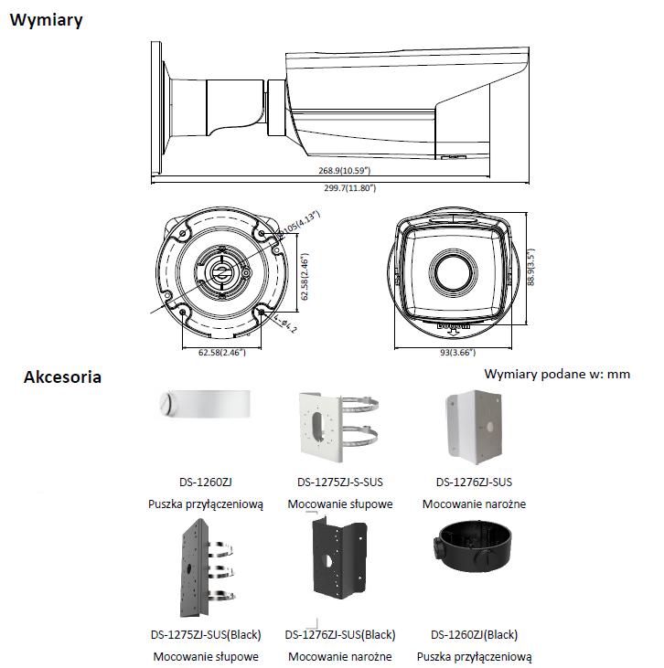 Kamera IP DS-2CD2T25FWD-I5(4mm) - HIKVISION- L895 - wymiary