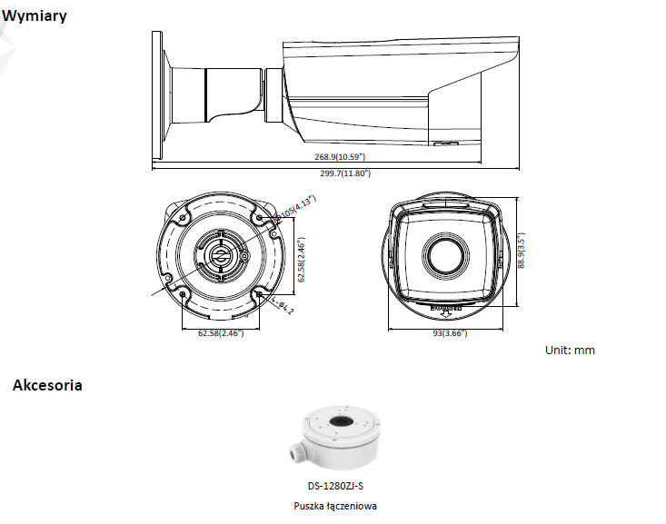 Kamera IP DS-2CD2T25FWD-I8(6mm) - HIKVISION- L875 -wymiary