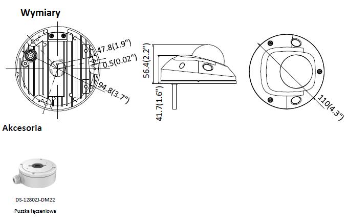 Kamera IP Hikvision w miniaturowej obudowie kopułowej DS-2CD2523G0-I(2.8mm) HIKVISION- L813 -wymiary