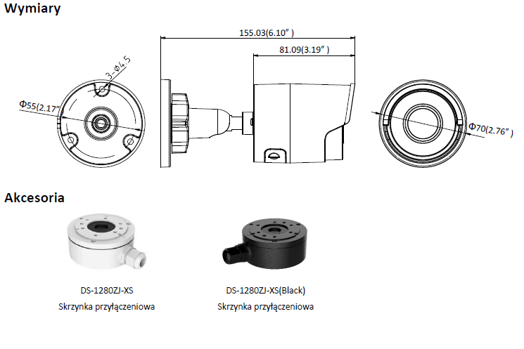 Kamera IP Hikvision w obudowie tulejowej,DS-2CD2023G0-I(2.8mm)- L372 -wymiary