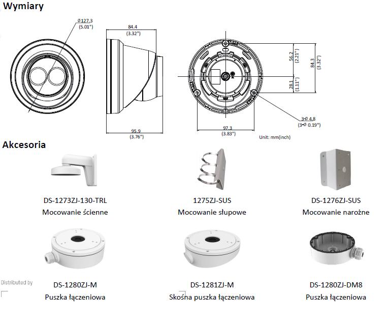 Kamera IP Hikvision w obudowie typu turrent DS-2CD2345FWD-I (2.8mm) HIKVISION