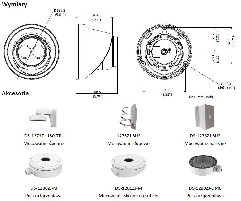Kamera IP Hikvision w obudowie typu turret DS-2CD2363G0-I (2.8mm) HIKVISION