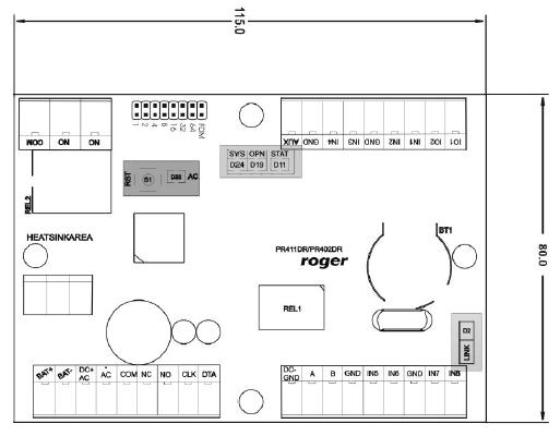 ROGER CPR32-SE-BRD - CENTRALA SYSTEMU KONTROLI DOSTĘPU- L48- wymiary