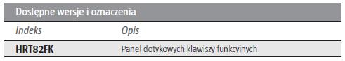 ROGER HRT82FK - PANEL DOTYKOWYCH KLAWISZY FUNKCYJNYCH- L102- tab1