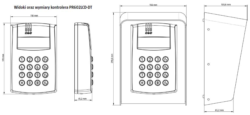 ROGER PR602LCD-DT-I - WEWNĘTRZNY KONTROLER DOSTĘPU ZINTEGROWANY Z CZYTNIKAMI EM 125 KHZ ORAZ 13,56 MHZ MIFARE Z KLAWIATURĄ I WYŚWIETLACZEM LCD- L987- wymiary
