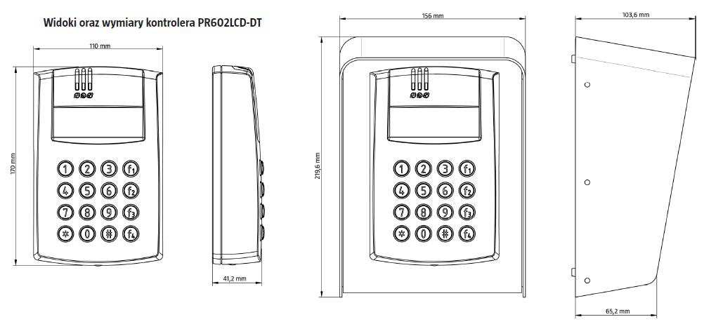 ROGER PR602LCD-DT-O - ZEWNĘTRZNY KONTROLER DOSTĘPU ZINTEGROWANY Z CZYTNIKAMI EM 125 KHZ ORAZ 13,56 MHZ MIFARE, KLAWIATURA ORAZ WYŚWIETLACZ LCD- L189- wymiary