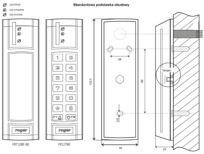 ROGER PRT12MF-BK-G - ZEWNĘTRZNY CZYTNIK ZBLIŻENIOWY KART STANDARDU ISO 14443A I MIFARE- L172- wymiary1