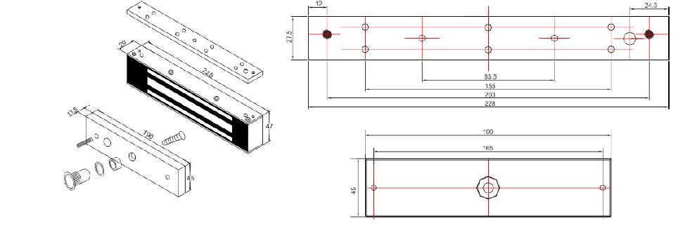 SCOT EL-1200WS - ZWORA ELEKTROMAGNETYCZNA ZEWNTRZNA 540KG - L1101 - wymiary