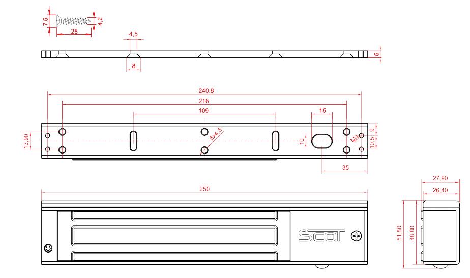 SCOT EL-600TSL - ZWORA ELEKTROMAGNETYCZNA 280KG  - L1117 - wymiary (2)