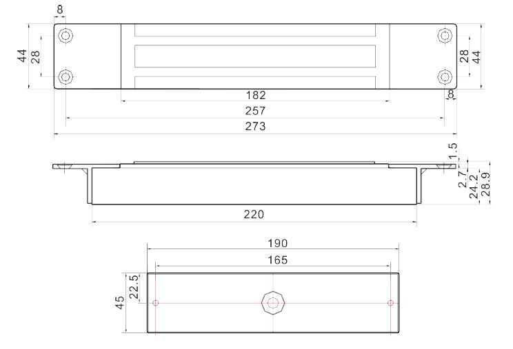 SCOT EL-800MS - ZWORA ELEKTROMAGNETYCZNA WPUSZCZANA - L1073 - wymiary